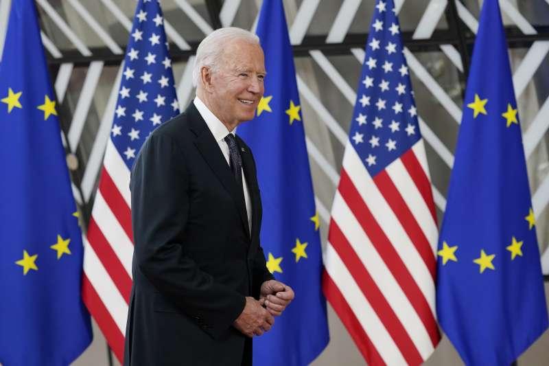 2021年6月15日,美國總統拜登出席美國與歐盟峰會(AP)