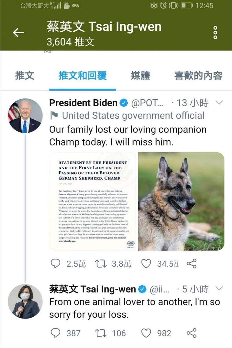 蔡英文總統第一時間推特弔念美國總統拜登的愛犬。(蔡英文推特)