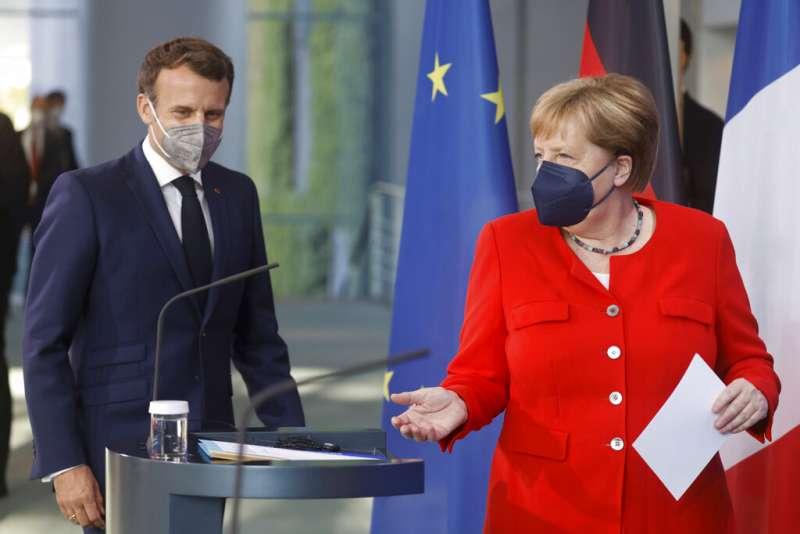 法德關係、德法關係,德國總理梅克爾與法國總統馬克宏。(美聯社)