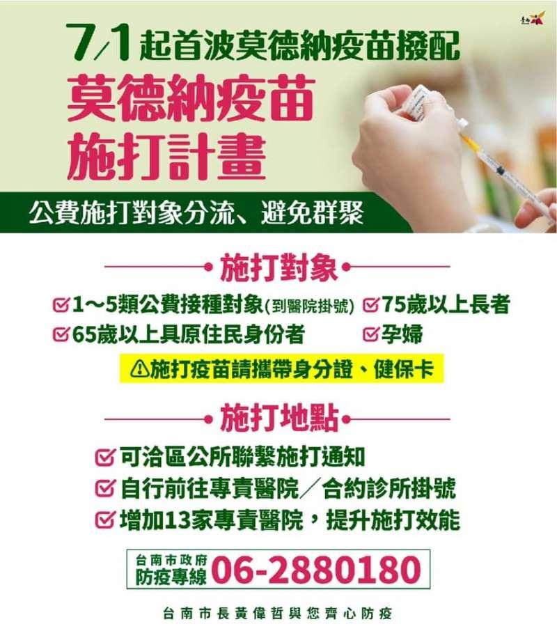 7月台南接種莫德納新冠疫苗相關規劃。(圖/台南市政府提供)