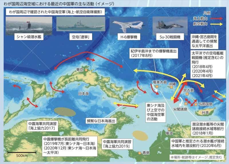 令和3年版的日本《防衛白皮書》介紹解放軍在日本周邊的最新動態。(翻攝防衛省官網)