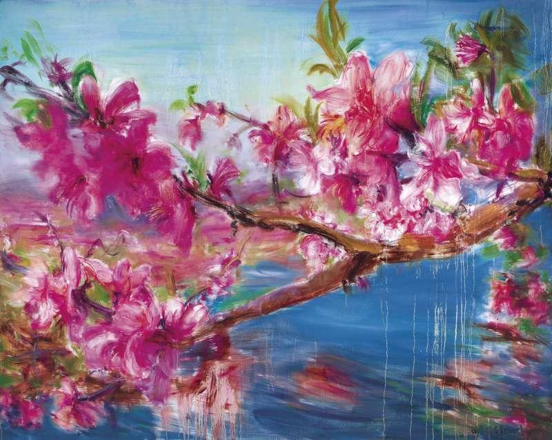 中國當代藝術家周春芽《桃花風景系列—湖上豔色》,以新台幣 5,184 萬元亮眼收槌(圖 / Ravenel 提供)