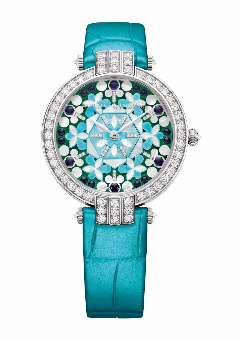卓實 Premier 系列 Kaleidoscope 萬花筒 36 毫米自動腕錶.淺藍色鱷魚皮錶帶(圖 / Harry Winston 提供)