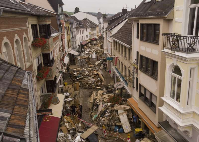 暴雨洪水重創德國西部,災情慘重。(美聯社)