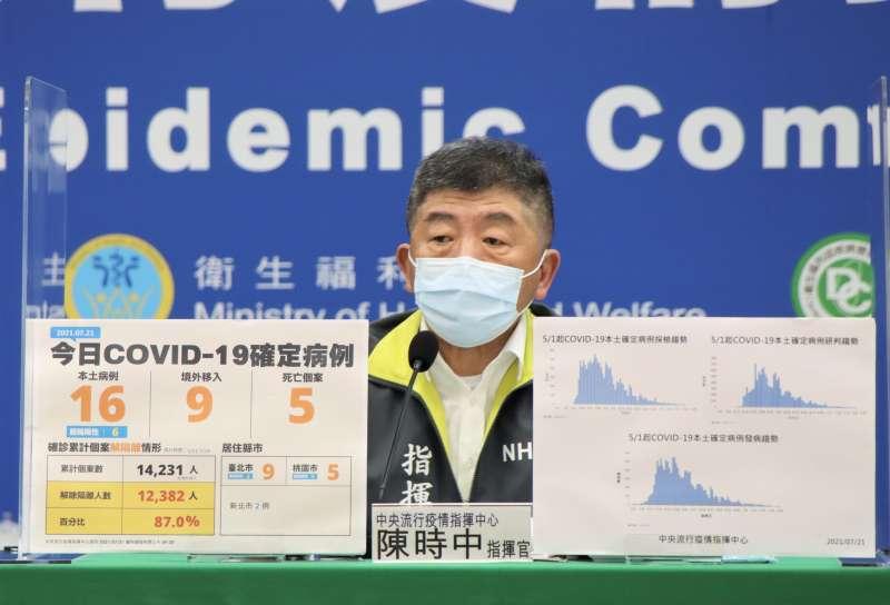 20210721-中央流行疫情指揮中心21日記者會,指揮官陳時中主持。(中央流行疫情指揮中心提供)