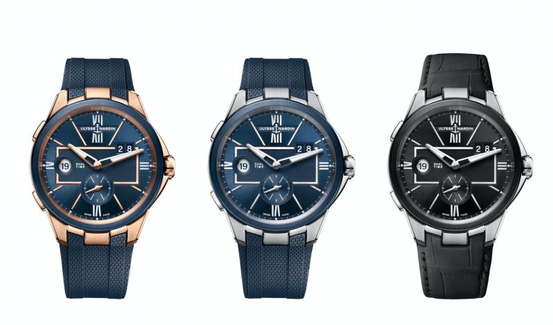 全新系列共有三種不同錶款:玫瑰金錶殼搭配藍色面盤、不銹鋼錶殼搭配黑色及藍色面盤,錶帶則有鱷魚皮及橡膠錶帶兩種選擇(圖 / Ulysse Nardin 提供)