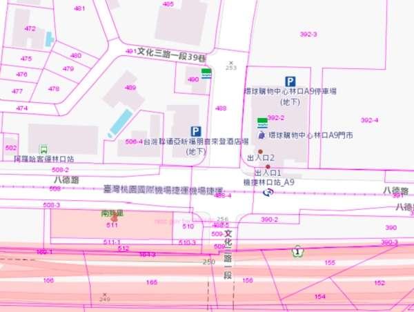 建案在建林段511地號,夾在機場捷運跟五楊高架中間。(圖/取自地籍圖資系統 ,好房網提供)