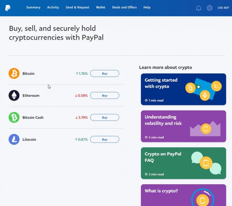 民眾可前往美國Paypal購買比特幣(圖:美國Paypal 官網)