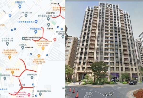林口A9站周邊,有多個社區為「Y字型路沖」,低樓層能買嗎?(圖/翻攝自GoogleMap ,取自好房網)