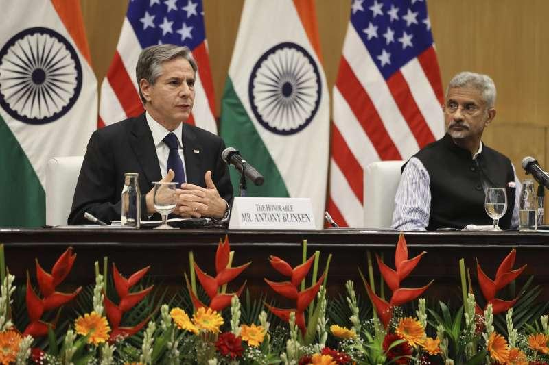 2021年7月28日,美國國務卿布林肯訪問印度,與印度外長蘇杰生會面(AP)
