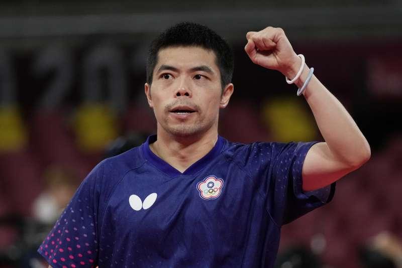 2021年8月1日,東京奧運,台灣代表隊桌球選手莊智淵出賽(AP)
