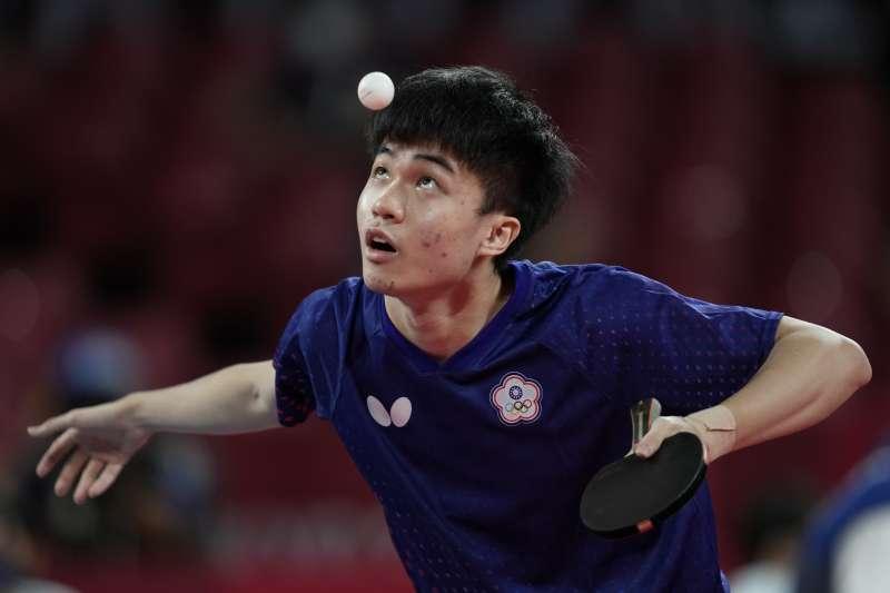 2021年8月3日,東京奧運,台灣代表隊桌球選手林昀儒出賽,對戰德國隊(AP)