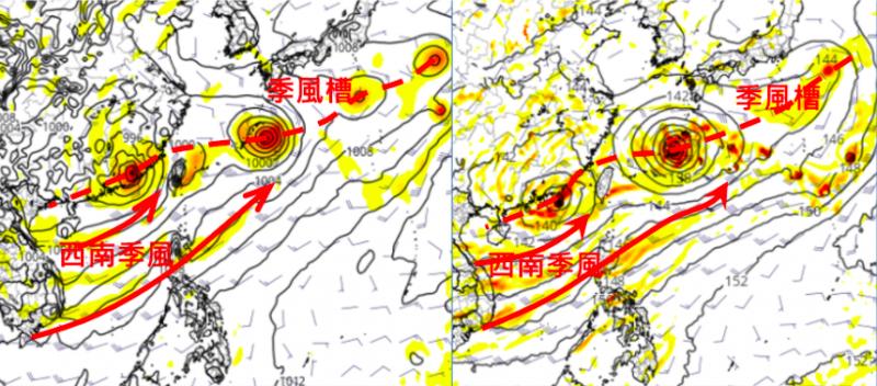 20210803-最新歐洲模式(左)跟美國模式(右),兩者顯示各低壓強度、位置皆有差異,唯「西南季風」盛行是兩者相同的。(取自洩天機教室)