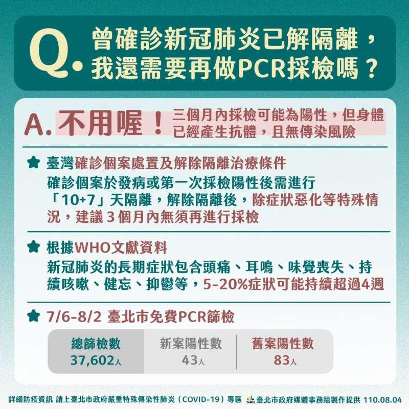 20210804-台北市長柯文哲呼籲,如果確診康復,不需要一直回來做PCR。(北市府提供)