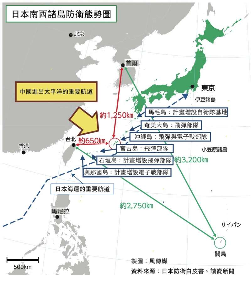 日本自衛隊南西諸島防衛態勢圖。