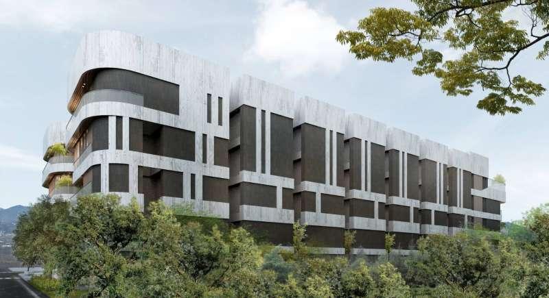 3戶名人居獨棟別墅,獨具新意流線造形與綠意融合,傳遞現代奢華住宅所應有的靜謐平和氛圍。(圖/徐炳文翻攝)
