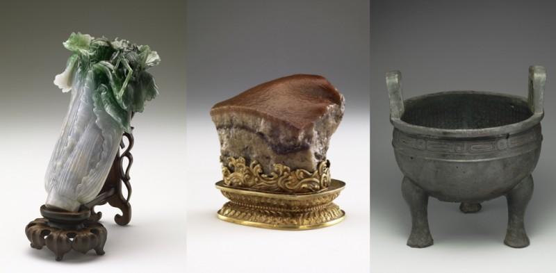 常見三寶:翠玉白菜、肉形石、毛公鼎(圖 / 故宮博物院)