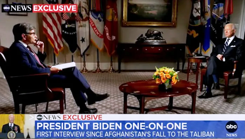 拜登8月18日接受ABC專訪時說,若北約遭任何入侵,美國一定做出回應,「對日本、南韓和台灣也一樣。」(翻拍自網路)