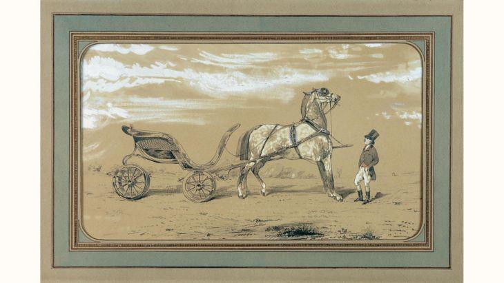 Alfred de Dreux 《四輪馬車與馬童》(圖 / 愛馬仕官網)