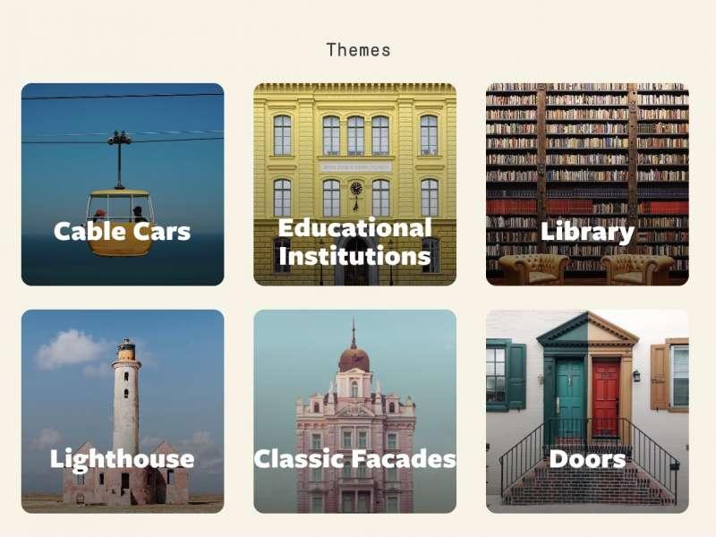 網站上透過物件的主題、顏色為這些帶有魏式風格的照片分門別類(圖取自AWA)