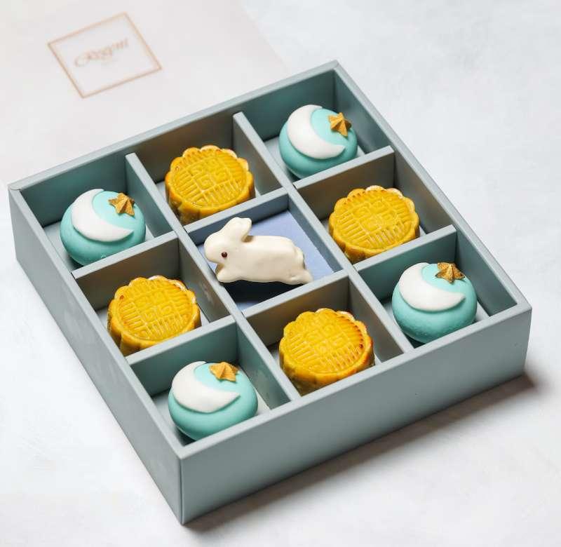 《雙月》中西合璧月餅禮盒(9入),售價1,880元(圖/台北晶華酒店提供)