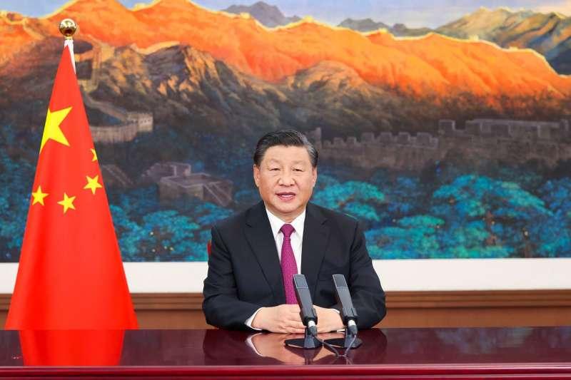 中國國家主席習近平在2021年中國國際服務貿易交易會全球服務貿易峰會上發表影片致辭。(AP)
