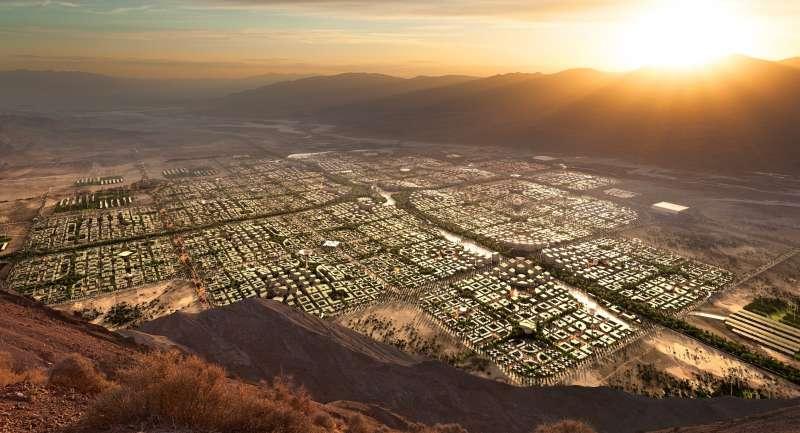 前沃爾瑪高層計畫在美國沙漠打造五百萬人口的新城市。(圖截自Telosa網站)
