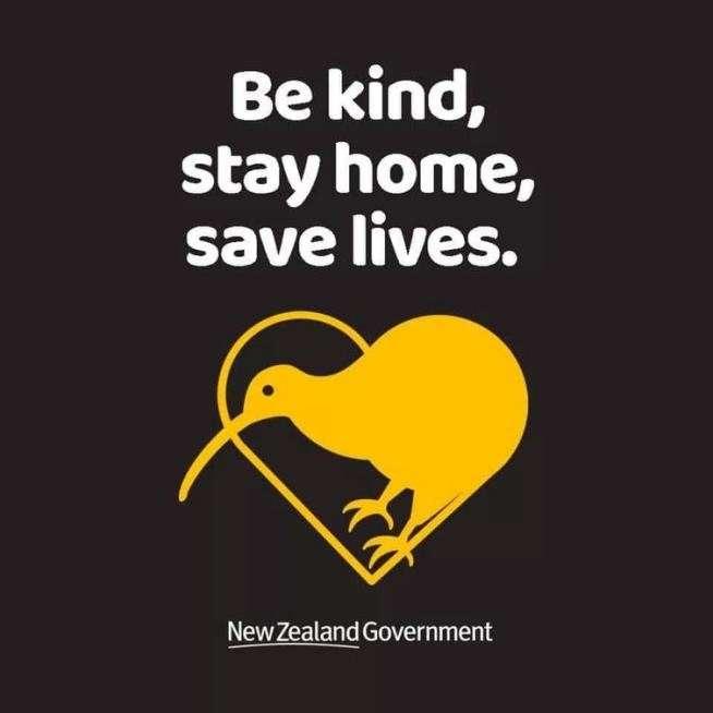 """紐西蘭""""Be kind, stay home, save lives""""運動。(取自紐西蘭政府相關網站)"""