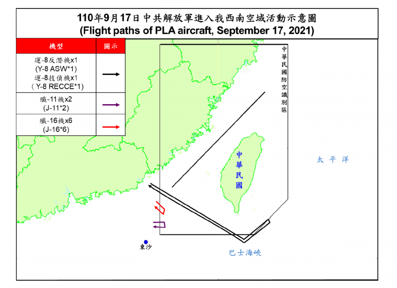 空軍司令部稍早發布訊息,證實再有共機侵擾我周邊空域,不僅總數達兩位數,更有部分共機一路飛至台灣東南防空識別區。(空軍司令部提供)