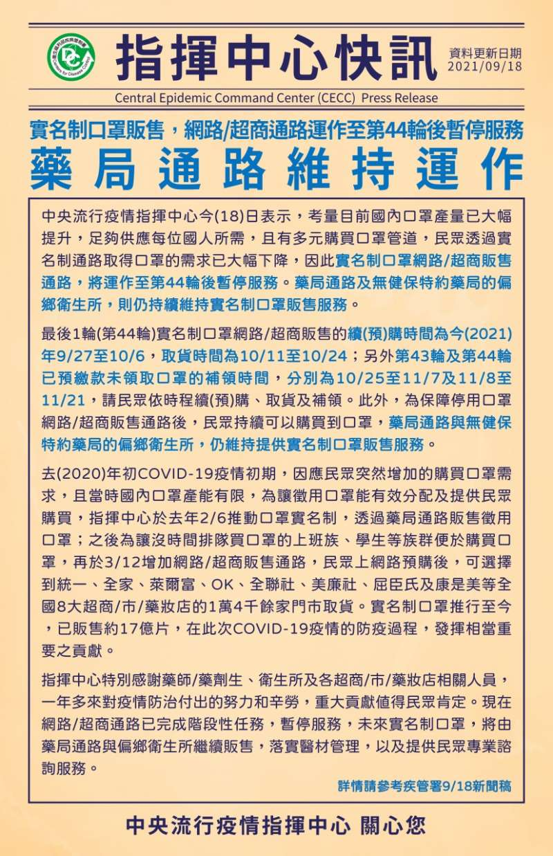 20210918-疫情指揮中心18日公布實名制口罩販售新指引。(指揮中心提供)