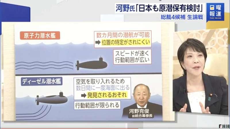 自民黨總裁候選人高市早苗認為,日本獲得核潛艦的最大障礙是《原子力基本法》、而非和平憲法第九條。(翻攝推特)