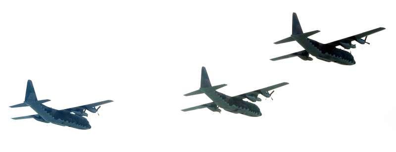20210928-國軍28日進行國慶空中分列式預演,圖為C-130H運輸機。(蘇仲泓攝)