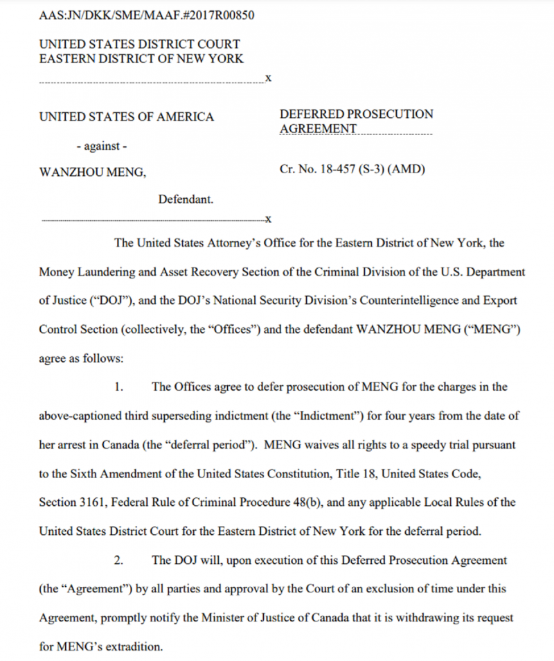 孟晚舟緩起訴協議書。(取自美國司法部)