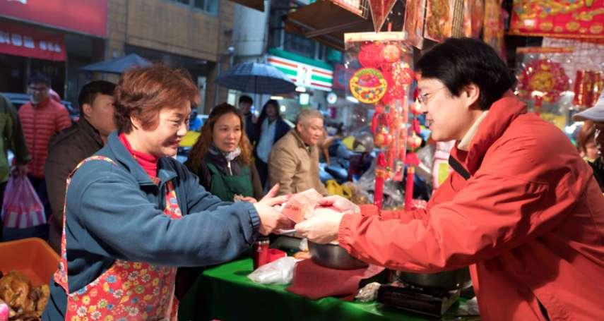 林右昌傳統市場發紅包 低收入戶加碼發一千元