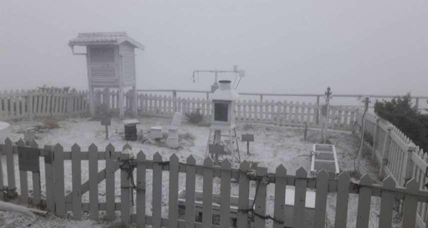 冷氣團來襲,玉山清晨3月雪滿山頭!氣象局公布最冷時間點