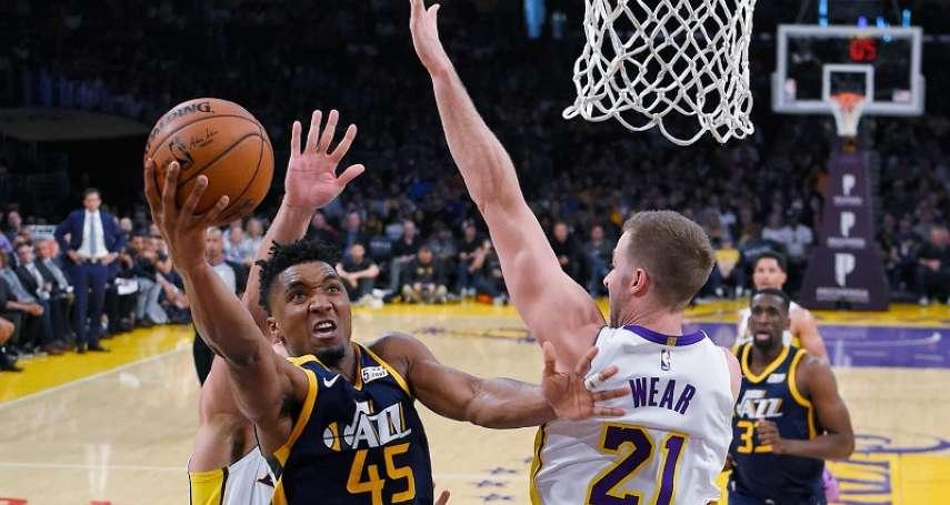 NBA》爵士客場大勝湖人 拿下季後賽門票