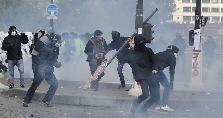 警察放任「黑衫軍」恣意破壞?無政府主義者鬧場 巴黎五一勞動節遊行變動亂