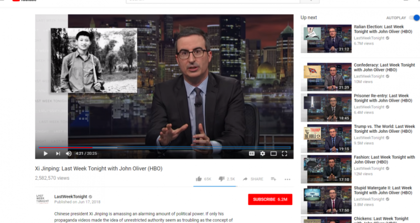 敢嘴習近平!《上周今夜秀》主持約翰奧利佛在中國網路「被消失」