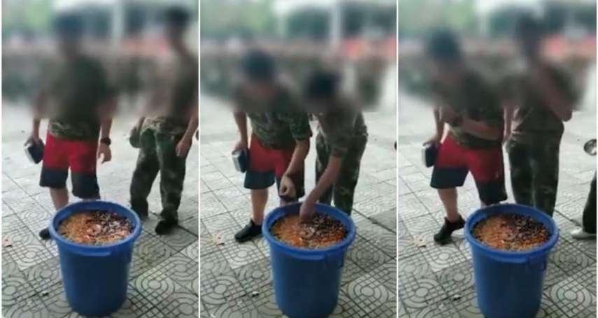 奴化教育從學校開始?陝西教官強逼學生吃餿水 中國網友竟稱:「很正常,當兵連幹部都吃」