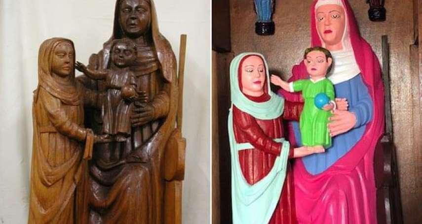 西班牙15世紀聖母聖子像,被熱心大媽「修復」成螢光色卡通偶…