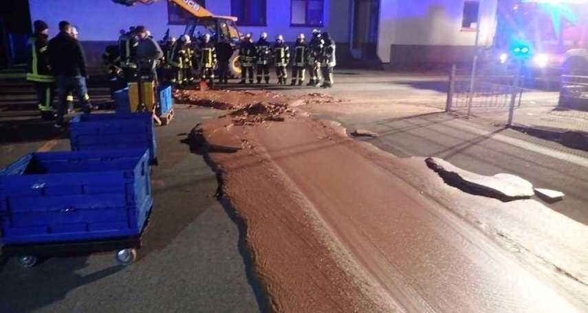 一噸巧克力外流馬路成巧克力薄餅!德國小鎮釀「甜蜜災難」