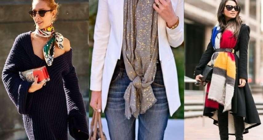 圍巾隨便繞一圈就太無趣了!必學6種「超實用綁法」保暖時尚、更是畫龍點睛的穿搭秘技