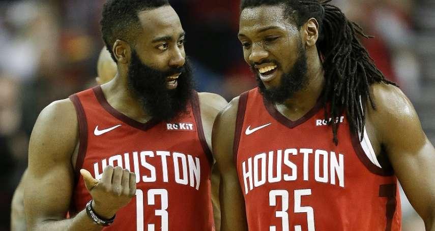 NBA》哈登力阻最後0.1秒三分投 再領30+小勝暴龍2分