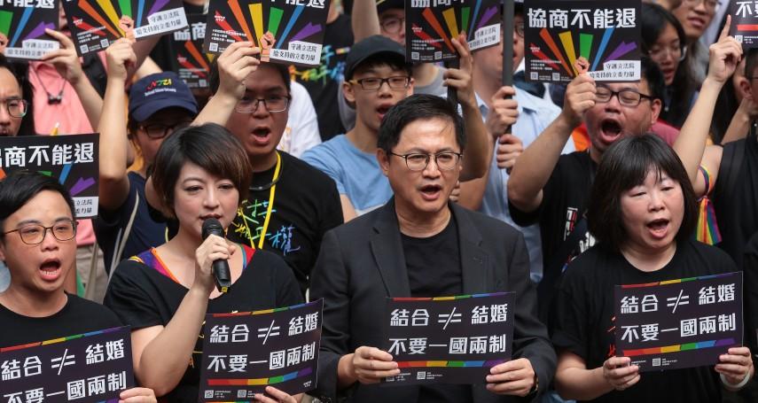 「台灣要進步,一定要追求婚姻平權!」千人集結立法院挺政院版同婚 和碩董事長、金鐘影后也來聲援