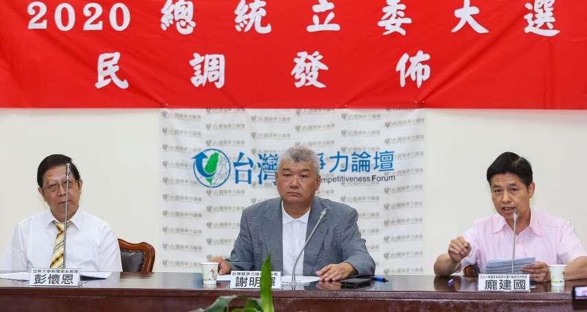 台灣競爭力論壇民調》韓國瑜要贏蔡英文,全看柯文哲是否參選