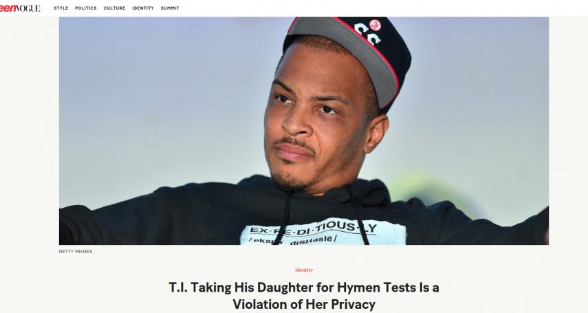 這款父親!美饒舌歌手T.I.自爆每年逼女兒「驗明處女」遭狂剿