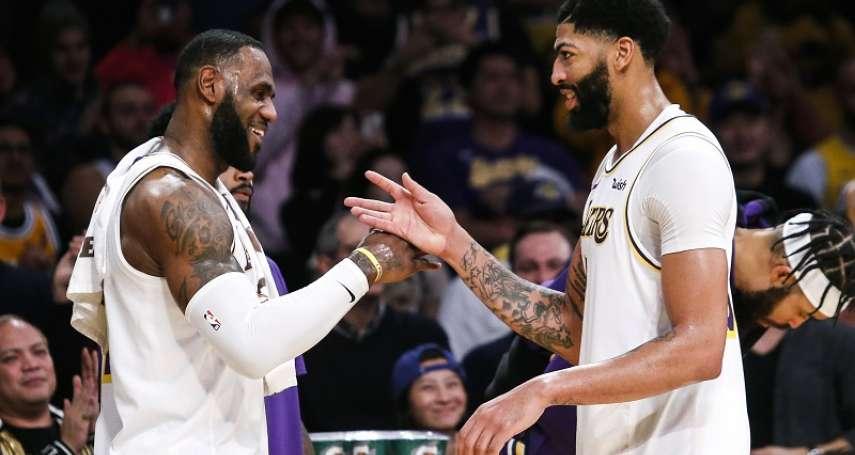 NBA》戴維斯攜手詹姆斯合轟82分寫紀錄 湖人再度登上聯盟龍頭