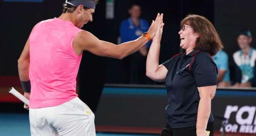 網球》 納達爾與救火志工合體雙打 大呼Bravo送上擁抱為澳洲大火暖心募款