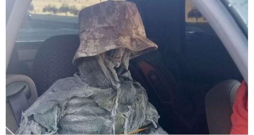 開不上高乘載管制路段,美國男子不惜「與骷髏同車」卻仍被抓包