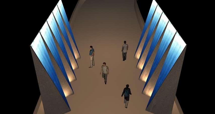 石岡意象燈區漫遊時光吧 藍染呈現水壩壯觀形象